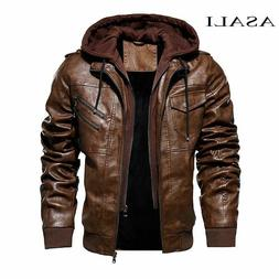 Men Hooded Jacket And Coat Autumn Winter Warm Casual Leather