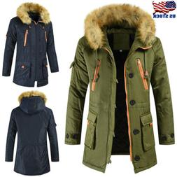 men hooded long coat winter warm thick