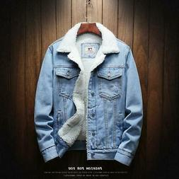 Men Light Blue Winter Jean Jackets Outerwear Warm Denim Coat