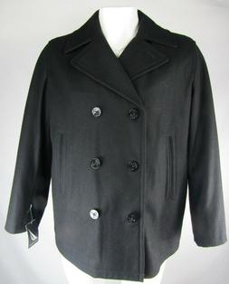 Nautica Men's Black Wool Blend Double Breasted Pea-Coat Size