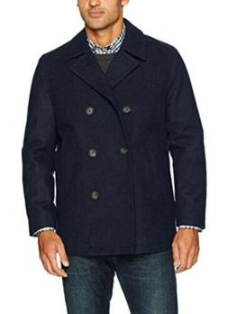 Nautica Men's Double Breasted Wool Peacoat, Dark Navy, XL