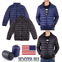 Men's Down Jacket Winter Lightweight Outerwear Coat Zipper W