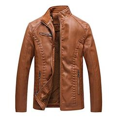 coollight Men's Faux Leather Jacket Faux Leather Moto Biker