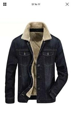 🔥Zicac Men's Fleeced Denim Jacket Winter Fall Warm Cowboy