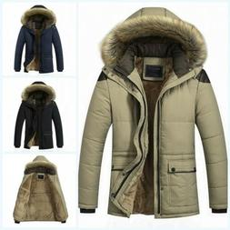Men's Hooded Coat Cotton Fur Collar Parka Thick Warm Outwear