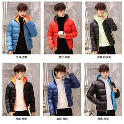 Men's Hooded Puffer Coats Jacket Thick Padded Winter Warm Pa