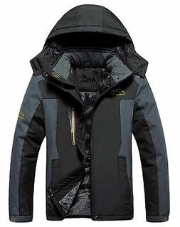 4HOW Men's Mountain Jacket Waterproof Hooded Fleece Ski Coat