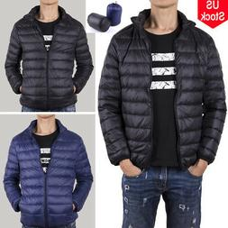 Men's Packable Down Coat Winter Thick Outerwear Jacket Warm