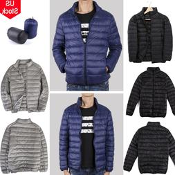 Men's Packable Down Jacket Ultralight Stand Collar Coat Wint