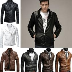 Men's Slim Leather Jacket Fit PU Motorcycle Zip Biker Winter