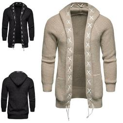 Men's Solid Trench Hooded Jacket Knit Casual Cardigan Long S
