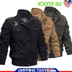 Men's Stand Collar Flight Jacket Pilot Wear Winter Coats Mil