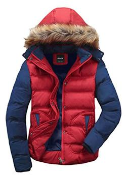 Wantdo Men's Winter Coat Casual Fur Hood Warm Outwear Jacket