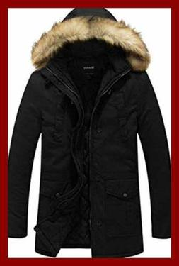 Wantdo Men's Winter Fur Hooded Cotton Outwear Coat US LARGE