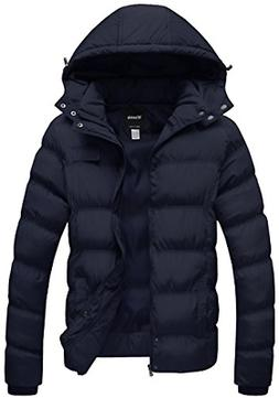 Wantdo Men's Winter Outdoor Jacket Puffer Windproof Coat wit