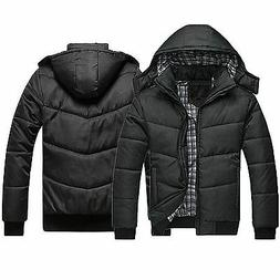 mens black puffer jacket warmer overcoat outwear