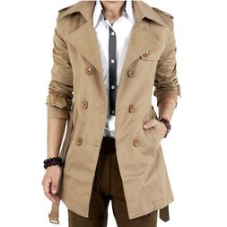 men s winter slim double breasted trench