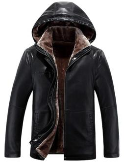 Tanming Men's Winter Warm Leather Coat Real Fur Hooded Leath