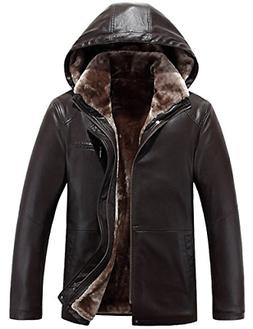 men s winter warm leather coat real