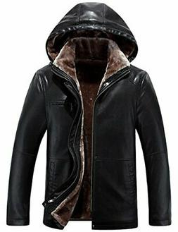 Tanming Men's Winter Warm PU Leather Coat Real Fur Hooded XX