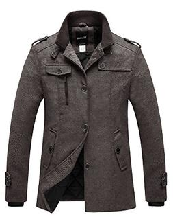 Wantdo Men's Winter Wool Blend Pea Coats Coffee US Medium/Ta