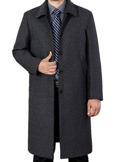 Mordenmiss Men's Wool Single Breasted Winter Trench Jacket W