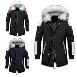 Men Winter Hooded Coats Thicken Parka Jacket Fur Collar Padd