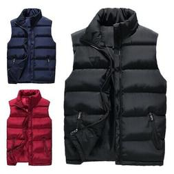 Men Winter Warm Down Quilted Vest Body Sleeveless Padded Jac