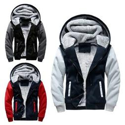 Mens Winter Fur Collar Coat Parka Jacket Hooded Fleece Linin
