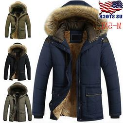 Men Winter Warm Thick Fur Collar Hooded Fleece Lined Outerwe