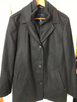 Nautica Mens Double Brested Wool Peacoat, Black Size Medium