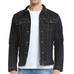 Mens Premium Denim Jeans Jacket Regular Fit Front Button Aut