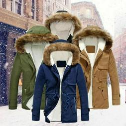 Mens Snow Winter Hooded Jacket Military Outerwear Warm Fur l