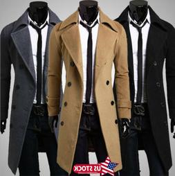 Mens Warm Wool Trench Coat Double Breasted Overcoat Winter L