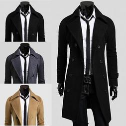 Men's Winter Warm Trench Coat Double Breasted Overcoat Long