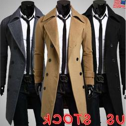 mens winter warm wool trench coat double