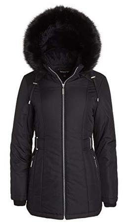 Women's Midlength Down Alternative Puffer Coat Fur Trim Plus