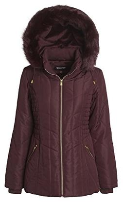 Sportoli Women's Midlength Ruched Detail Plush Lined Puffer