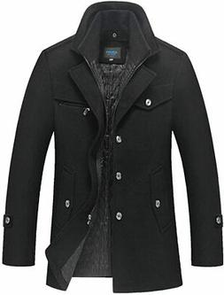 Mordenmiss Men's Quilted Wool Coat Slim Fit Single Breasted