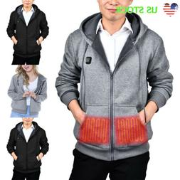 New Fashion Mens Electric Heating Clothes Winter Warm Hoodie