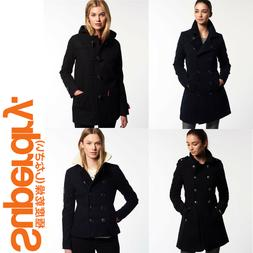 New Ladies Womens Superdry Winter Coats Jackets Wool Toggle
