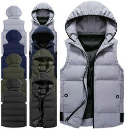 New Men's Sleeveless Cotton Jacket Coat Winter Men's Hooded
