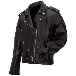 new mens black genuine buffalo leather motorcycle