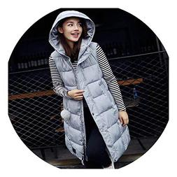 New Winter Warm Slim Padded Female Warm Wind Cap Vest,Grey,X