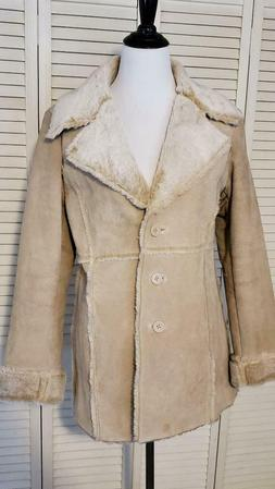 nwot suede leather faux fur sherpa jacket