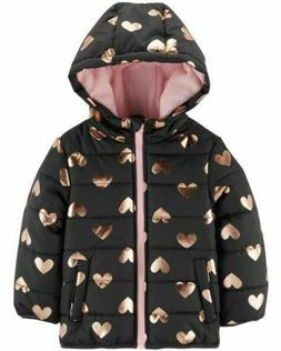 NWT Carter's Girls SZ 3T Toddler Foiled Hearts Fleece Lined