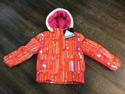 NWT Iceburg Girls Winter Coat Hooded Fleece Lined orange pin