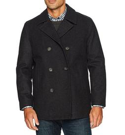 NWT Nautica Men's Double Breasted Wool Peacoat, Charcoal, S/