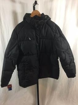 NWT Mens Nautica Puffer Water Resistant Black thick Hood Win