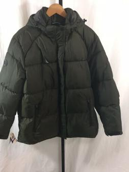 NWT Mens Nautica Puffer Water Resistant Green thick Hood Win